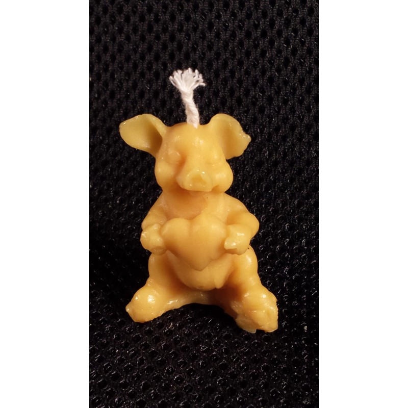 Wax candle- pig with a heart